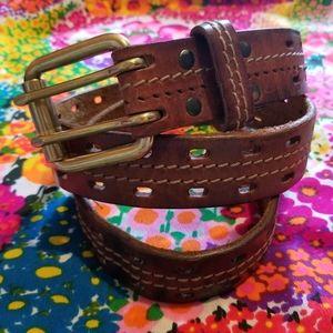 VTG Solid Brass Buckle Genuine Leather Eyelet Belt